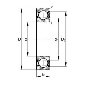 7 mm x 22 mm x 7 mm  FAG 627-2RSR deep groove ball bearings